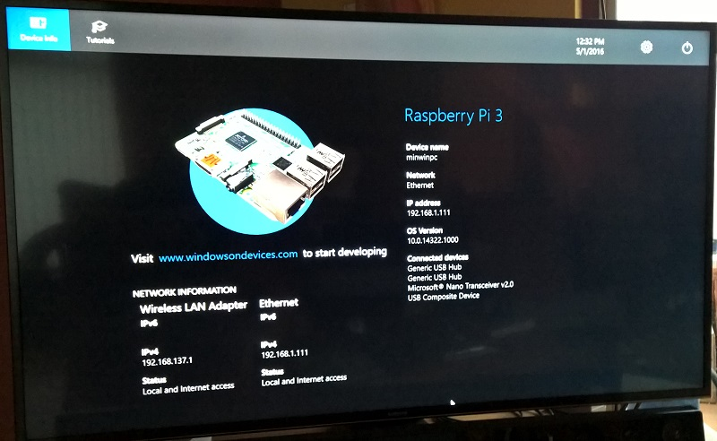 Pi 3 screen from 16GB SanDisk