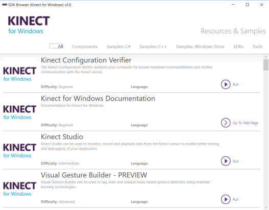 Getting started with Kinect for Windows – installing