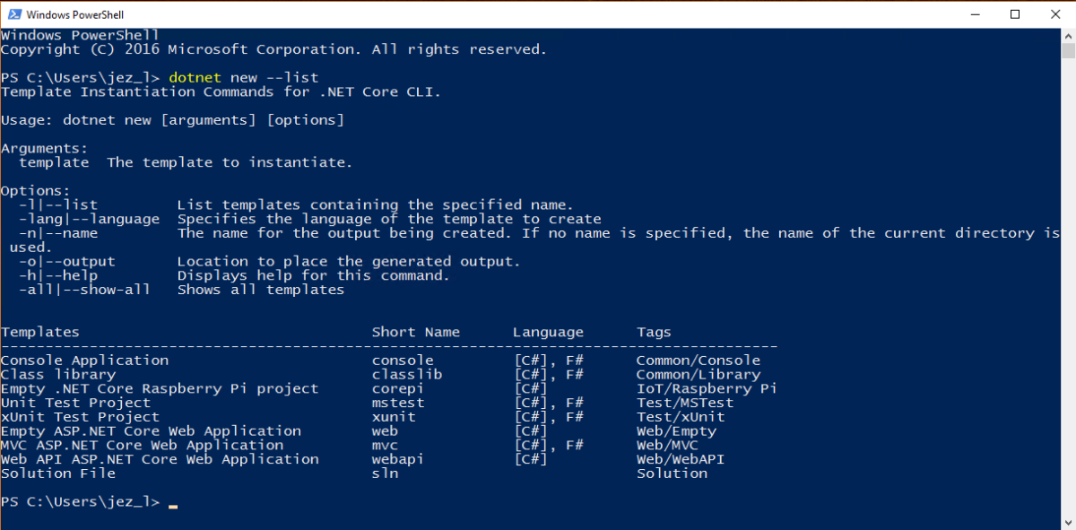 NET Core Template To Create A New Project From The Command Line With Dotnet I