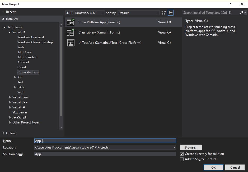 Troubleshooting the default install of Xamarin with Visual Studio