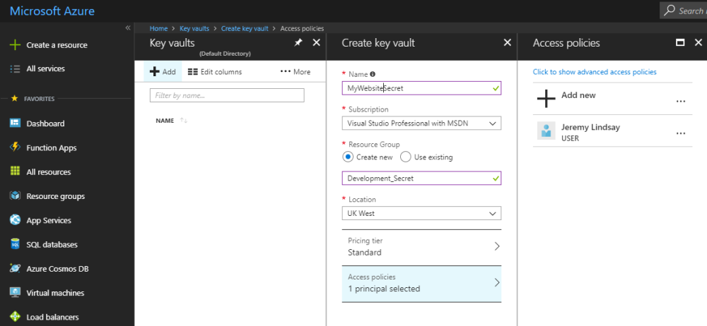 Using the Azure Key Vault to keep secrets out of your web app's