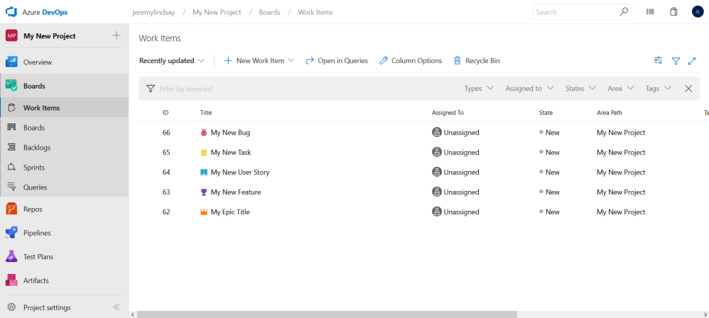 Setting up relationships between work items on Azure DevOps